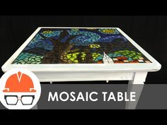 Reclaimed end table with starry night tile mosaic top - YouTube