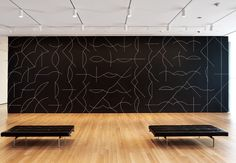 SOL LEWITT. WALL DRAWING #260. 1975. CHALK ON PAINTED WALL, DIMENSIONS VARIABLE. AT THE MUSEUM OF MODERN ART, NEW YORK.