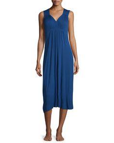 Sleeveless V-Neck Nightgown, Women's, Size: L, Dkblu - Oscar de la Renta Pink Label