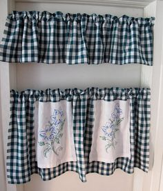 Morning Glory Window Curtains, Repurposed Linens, Cafe and Valance Window Treatment, Green Gingham Check via Etsy