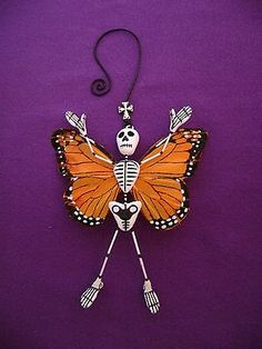 Skeleton-Monarch-Butterfly-Ornament-Day-of-the-Dead-Mexican-Folk-Art-Signed-GB