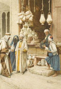 (1) Federico Bartolini (Italian, 19/20th century)  The pot seller, watercolour on paper, 52 x 35,5 cm.