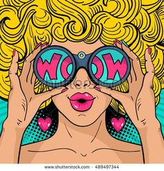 Similar Images, Stock Photos & Vectors of Wow pop art face. Sexy surprised woman with blonde curly hair and open mouth holding binoculars in her hands with inscription wow in reflection.Vector colorful background in pop art retro comic style. Pop Art Tattoos, Kunst Tattoos, Tattoo Art, Retro Kunst, Retro Art, Vintage Art, Comic Kunst, Comic Art, Comic Style Art