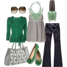 gris menta y verde