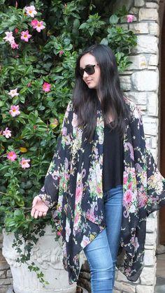 Black Floral Paisley Print Boho Tunic Swimsuit Cover Sheer Fabric Duster Caftan Kimono Top Cardigan Onesize SML Plus Size