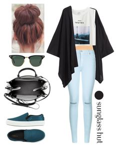 """""""Shades of You: Sunglass Hut Contest Entry"""" by funnysuperstar6 ❤ liked on Polyvore featuring H&M, Nordstrom, 7 For All Mankind, Uniqlo, Ray-Ban, Balenciaga, CÉLINE, shadesofyou and plus size clothing"""