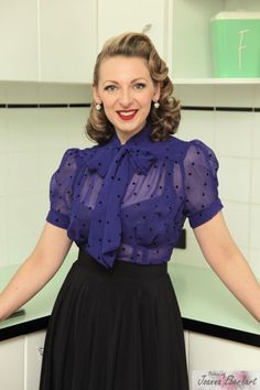 1dda340fbb75 Image of  Mademoiselle  Pussybow Blouse - Blue