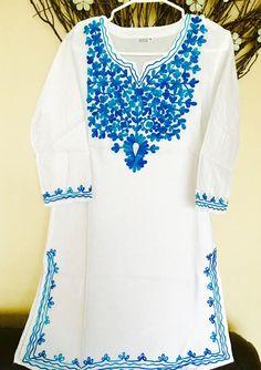 Women 100 Cotton Kurti Kurta Tunic Dress Top Hand Embroidered White Size Large   eBay