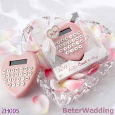 Free Shipping Wedding Gifts 2set Heart-Shaped Calculator ZH005 party gift and wedding gift or party decoration