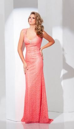TONY BOWLS CORAL EVENING GOWN - 115710 - Size 4