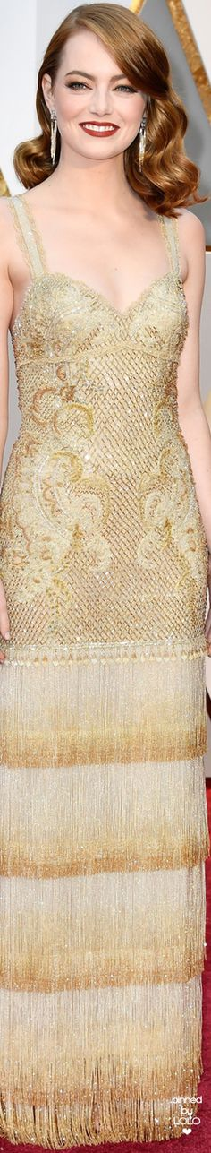 Emma Stone 2017 Oscars.  I love the shimmering layers of fringe on this gorgeous Givenchy!❤
