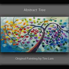 Spring Tree art Abstract painting 48 Cherry Blossom, ORIGINAL Large acrylic painting on canvas by Tim Lam Glass Painting Patterns, Dot Painting, Texture Painting, Acrylic Painting Canvas, Canvas Art, Acrylic Art, Unique Paintings, Original Paintings, Acrylic Painting Inspiration
