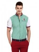 30% OFF! Mast & Harbour Men Green & White Striped Twilight Slim Casual Shirt