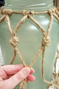 DIY Sea Glass Rope Lantern - A Wonderful Thought DIY Sea Glass Rope Lantern. Perfect for your beach/coastal decor Rope Crafts, Seashell Crafts, Beach Crafts, Diy Crafts, Mason Jar Crafts, Bottle Crafts, Mason Jars, Coastal Bedrooms, Coastal Curtains