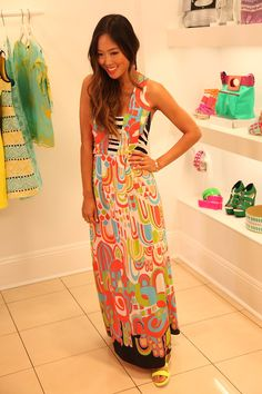 Aimee Song, style blogger at Song of Style, models Nanette's bold summer maxi