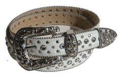 BeltsandStuds Western Rhinestone Skinny Studded White Leather Belt $14.99