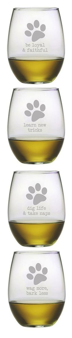 Dog Wisdom Stemless Wineglass Set