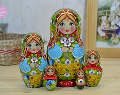 Handmade russian nesting doll set of 5.  Matryoshka is a wonderful gift for your family member, loved one or friend. Its like a bunch of flowers that never fade. Nesting doll is a symbol of love, care and strong relations between people. If you want to make a really unique and original gift, if you want to amaze and delight someone you care about - matryoshka doll is an excellent choice!   Nesting doll is turned from basswood (other name is linden) and hand painted with high-quality gouache…