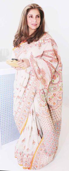 Dimple Kapadia at the India Bridal Fashion Week. #Bollywood #bmwibfw #Fashion #Style #Beauty #Saree #Sari #Classy