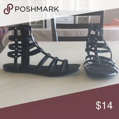 Sandals Black, faux leather sandals Mossimo Supply Co Shoes Sandals