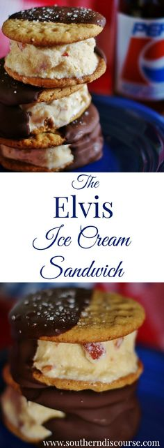 The Elvis Ice Cream Sandwich- A Hunka, Hunka Frozen Goodness - a southern discourse For Father's Day, this ice cream sandwich with the king's 4 major food groups- chocolate, bacon, peanut butter and bananas- has got you covered. Ice Cream Desserts, Frozen Desserts, Frozen Treats, Bacon Ice Cream, Homemade Peanut Butter Cookies, Ice Cream Smoothie, Bacon Sandwich, Layered Desserts, Sweet Bread