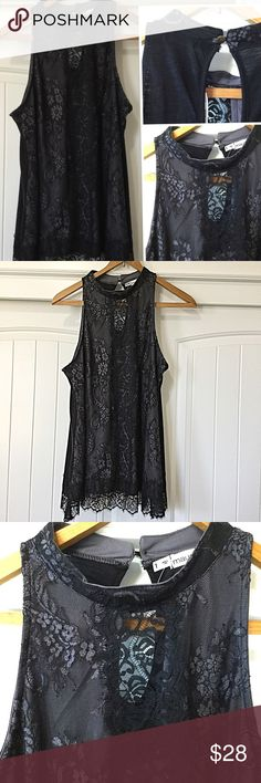 🦋NWT MAURICES SLEEVELESS BLOUSE MAURICES SLEEVELES BLOUSE -  Front is lacy.  Neckline surrounds neck semi choker. The back is cotton like material with a peek a boo hole at the neckline.  It has never been worn and still has the tags on.  Feel free to make offer or bundle for 10% Off f r any 2 items.  Happy Poshing!  💖🌸. It was s a size 1 inch for MAURICES is about a 16 Maurices Tops