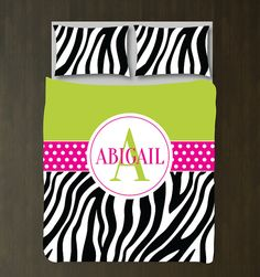 Zebra Print Duvet Cover w/Shams-Monogrammed by GatheredNestDesigns