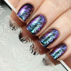 Copycat Claws: Whats Up Nails Paradise Powder and Water Marble Stamping Plate