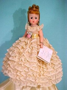 For Always Doll - Cissette in Yellow Formal Gown (1963) styled with tiers and tiers of fine ruffled lace. Rare in this color.