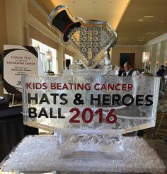 Multi-color fill, two track ice luge for the Hats & Heroes Ball benefitting Kids Beating Cancer. #icesculptures #charityice