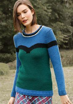 Blau-grüner Pullover, stricken mit Rebecca - mein Strickmagazin und ggh-Garn SPORTLIFE (100% Schurwolle superwash) gestrickt. Garnpaket zu Modell 37 aus Rebecca Nr. 60