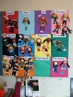 verjaardagskalender Birthday Calender, Ecole Art, Classroom Displays, Artemis, Primary School, Team Building, Back To School, Activities For Kids, Preschool