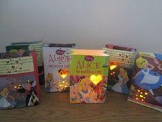 6 Alice In Wonderland Storybook Luminaries, Alice in Wonderland Party, Alice In Wonderland Decorations, Alice Tea Party, Alice Birthday. $35.00, via Etsy.