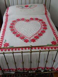 Big pink and red heart on full size chenille bedspread