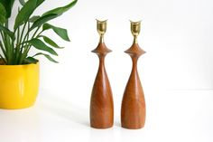 Mid Century Modern Wood and Brass Candlesticks / Danish Modern Candle Holders