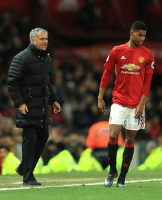 Jose Mourinho Manager of Manchester United gives instruction to Marcus Rashford during the Premier League match between Manchester United and...