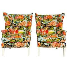 Pair of Wingback Chairs, Fabric Chiang Mai Aqua