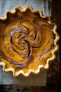 Chocolate Swirl Pumpkin Pie -- 11 Thanksgiving pies that are just plain delicious, no matter how you slice it Chocolate Swirl, Chocolate Pies, Chocolate Pumpkin Pie, Melted Chocolate, Thanksgiving Desserts, Holiday Desserts, Happy Thanksgiving, Strudel, Pumpkin Pie Recipes