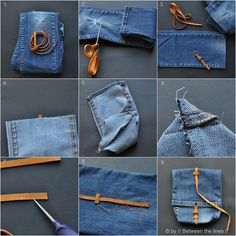 Jeans paper bag with leather belt