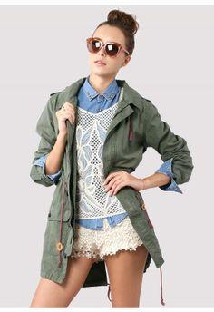 Amygreen Military Style Hooded Parka Coat