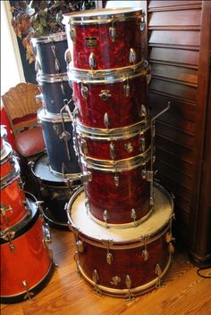 Vintage Majestic japanese drums. 22-14 13-12 5x14 snare. Check out the offset teardrop lugs $350