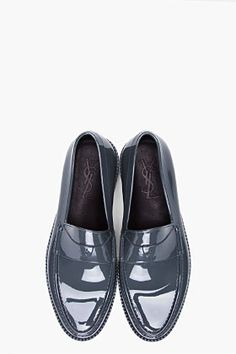 #YVES SAINT LAURENT Grey Kennedy Show Loafers