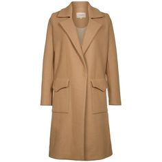 NANUSHKA THOT Classic coat tan (615 AUD) ❤ liked on Polyvore featuring outerwear, coats, jackets, nude, nanushka, knee length coat, woolen coat, tan wool coat and lapel coat