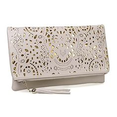 BMC Womens Creamy Beige Perforated Cut Out Pattern Gold Accent Background Foldover Pouch Fashion Clutch Handbag >>> Check out this great image @