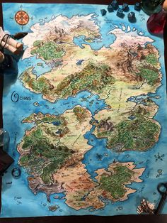 I'm running a DnD campaign for my players, and this is the continent that they are adventuring in. Fantasy Map Making, Fantasy City Map, Fantasy World Map, Fantasy Places, Dnd World Map, Rpg World, World Maps, Fantasy Art Landscapes, Fantasy Landscape