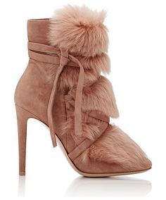 Moritz suede & fur ankle boots-colorless by Gianvito Rossi. Crafted of light red-brown suede and lamb fur, Gianvito Rossi's Moritz boots are styled with crisscross straps that w...
