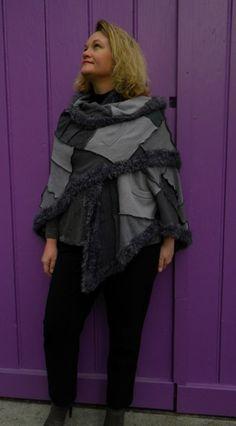 Châle en patchwork gris