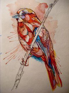 'Splashy little birds, doin' how they do' - lovely #bird #painting #prints by Abby Diamond, via @Society6