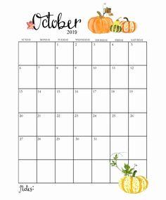 Cute October 2019 Calendar Printable