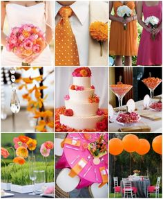 Not quite sure if I want an orange and pink wedding, but there are some good ideas right here.